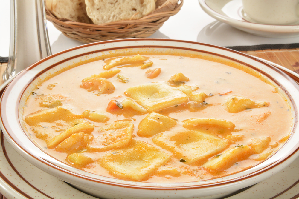 Roast Kumara Bisque with Ravioli