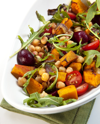 Roast Kumara and Chickpea Salad with Sun-dried Tomato Dressing