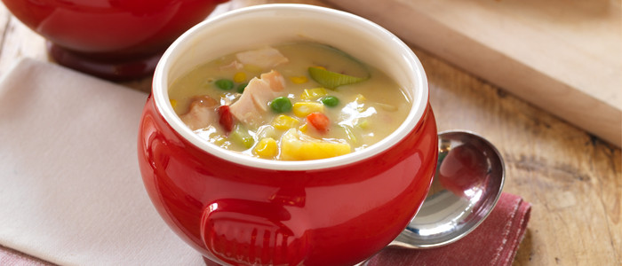 Smoked Chicken, Kumara and Corn Chowder