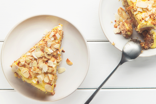 Kumara Pie with Almond Crunch Topping