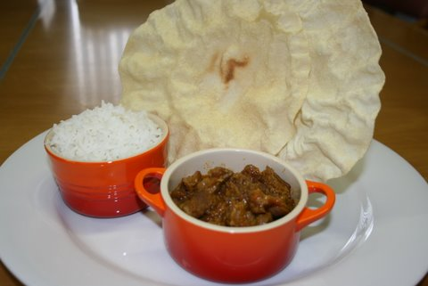 Kumara and Lamb Curry with Banana Coconut Chutney and fluffy rice