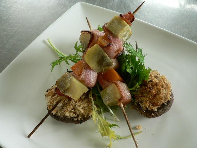 Kumara and Bacon Kebabs