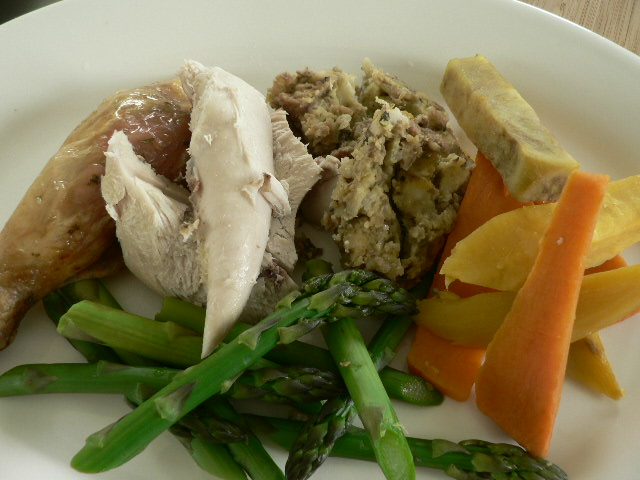 Roast Chicken with Kumara and Sausage Meat Stuffing