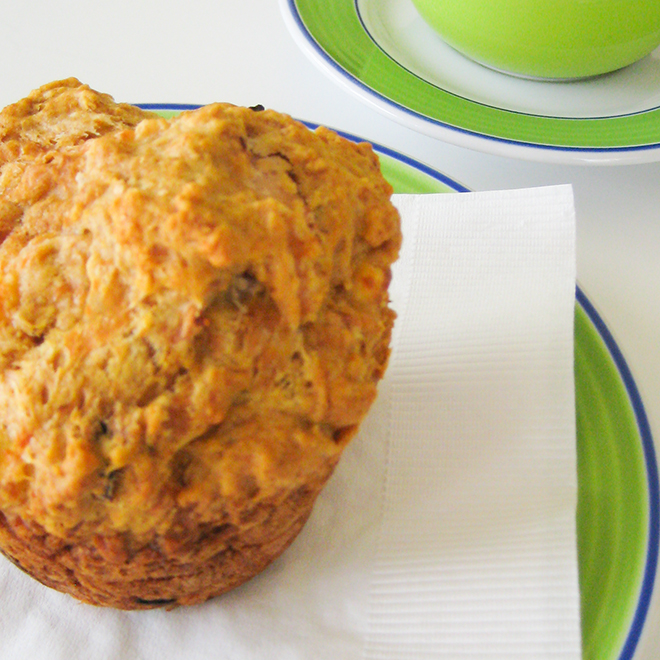 Golden Kumara, Chutney and Cheese Muffins